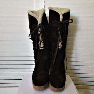 KORS Michael Kors  brown suede platform boots  7